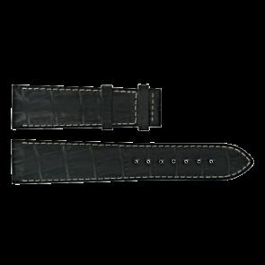 Certina pulseira de relogio C610014940 Couro Preto 21mm + costura branca