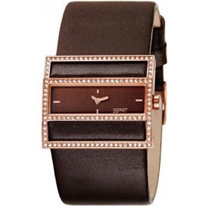 Esprit pulseira de relogio ES-103072003 Couro Castanho escuro 30mm