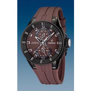 Festina pulseira de relógio F16612/2 Borracha Castanho 18mm