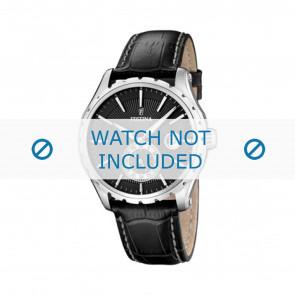 Festina pulseira de relógio F16486/1 Couro Preto 23mm + costura branca