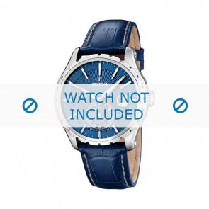 Festina pulseira de relógio F16486/6 Couro Azul 23mm + costura branca