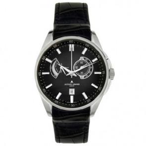 Jacques Lemans pulseira de relogio G175 Couro Preto 22mm + costura preto
