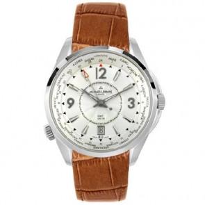 Jacques Lemans pulseira de relogio GU200 / G175 Couro Conhaque 23mm + costura marrom