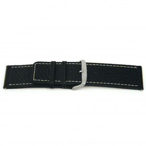 Pulseira de relógio Universal J125 Couro Preto 26mm