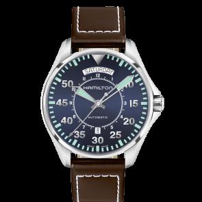 Pulseira de relógio Hamilton H64615545 Couro Castanho escuro 20mm