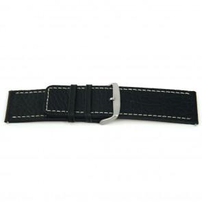 Bracelete de relógio em pele genuína preta com costura 22mm EX-H79