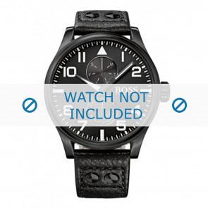 Hugo Boss pulseira de relogio HB-88-1-34-2733 / HB1513083 Couro Preto 24mm + costura preto