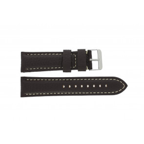 Pulseira de relogio H038 XL Couro Castanho escuro 22mm + costura branca