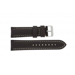 Pulseira de relogio G038 XL Couro Castanho escuro 20mm + costura branca