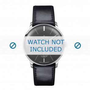 Junghans pulseira de relogio 027/3503.00 Couro Preto 20mm + costura padrão