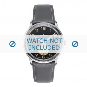 Junghans pulseira de relogio 027/3607.00 Couro Cinza 20mm + costura branca