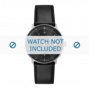 Junghans pulseira de relogio 041/4462.00 Couro Preto 20mm + costura padrão