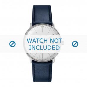 Pulseira de relógio Junghans 041/4464.00 Couro Azul 20mm