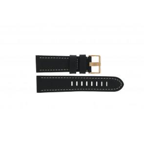 Prisma pulseira de relogio LEDZWR Couro Preto 23mm + costura branca