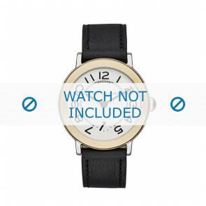 Marc by Marc Jacobs pulseira de relogio MJ1514 Couro Preto 18mm + costura preto