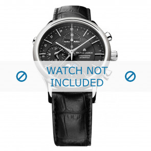 Maurice Lacroix pulseira de relogio LC6078-SS001-331 Couro Preto + costura preto