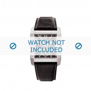Police pulseira de relogio PL-10966MS/02 Couro Preto + costura branca