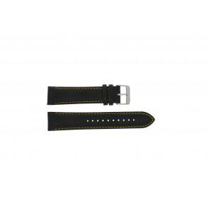 Pulsar pulseira de relogio VK63-X001 / PP077X Couro Preto 22mm + costura amarela