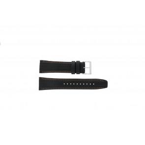 Seiko pulseira de relogio 7T62-0HL0 / SNAB59P1 / SNAB59JC / SNAB59J1 Couro Preto 24mm + costura laranja