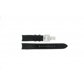 Seiko pulseira de relogio SNA741P2 / 7T62-0GE0 Couro Preto 22mm + costura preto