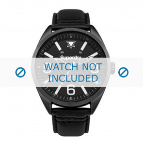 Superdry pulseira de relogio SYG199BB Couro Preto + costura preto