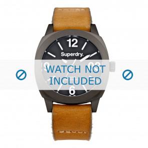 Superdry pulseira de relogio SYL116TT Couro Conhaque + costura padrão