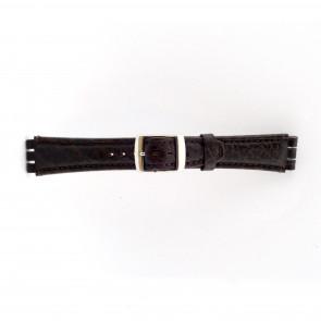Bracelete para Swatch em pele genuina Castanha escura 19mm 21412