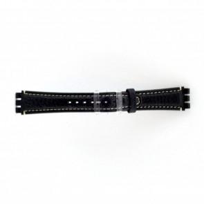 Bracelete em pele genuína para Swatch azul escuro / cinzento 19 mm ES-3.05
