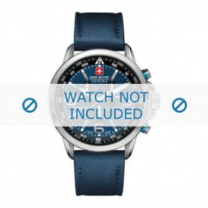 Swiss Military Hanowa pulseira de relogio 06-4224.04.003 Couro Azul 22mm + costura azul
