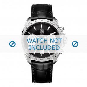 Tag Heuer pulseira de relogio FC6225 Couro Preto + costura cinza