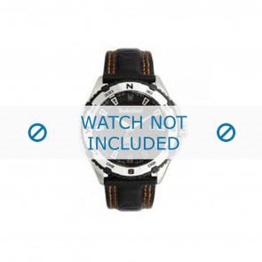 Timberland pulseira de relogio 13897JS-02 Couro Preto 22mm + costura laranja