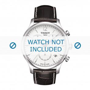 e882aab070d Tissot pulseira de relogio T063.617.16.037.00 - T610031126   T610031126  Couro croco Marrom 20mm + costura branca