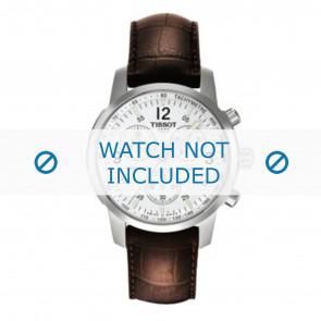 Tissot pulseira de relogio T361.461 PRC-200 - T600013367 Couro croco Marrom 19mm + costura marrom