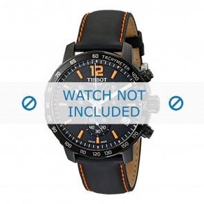 Tissot pulseira de relogio T095.417.360.570.0 - T600035367 / T095.417.A Couro Preto 19mm + costura laranja
