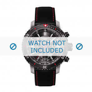 Tissot pulseira de relogio T067.417.260.5100 T067417A - T610031781 Couro Preto 19mm + costura vermelha