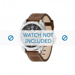 Timberland pulseira de relogio 13330XS-02 Couro Marrom 22mm + costura branca