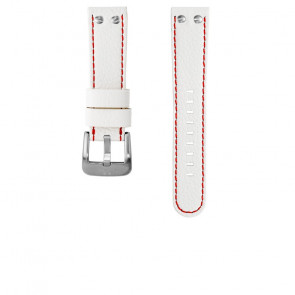 TW Steel pulseira de relogio TWB39 / TW39 Couro Branco 22mm + costura vermelha