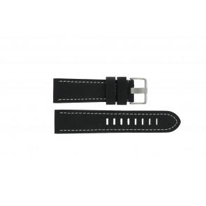 Prisma pulseira de relogio ZWST23 Couro Preto 23mm + costura branca